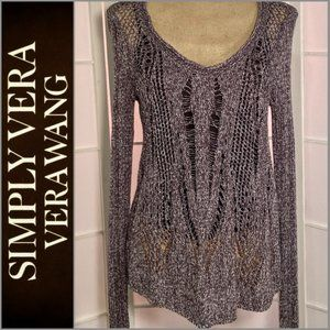 Simply Vera- Vera Wang Open Weave Sweater